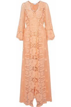 MIGUELINA Cotton lace maxi dress