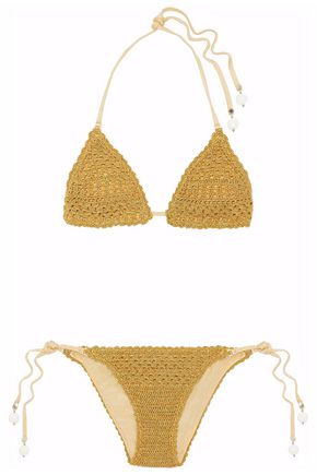 STELLA McCARTNEY Metallic crochet-knit triangle bikini