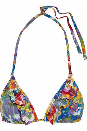 STELLA McCARTNEY Ruffled floral-print triangle bikini top