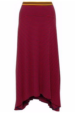 STELLA McCARTNEY Asymmetric striped cotton-jersey skirt