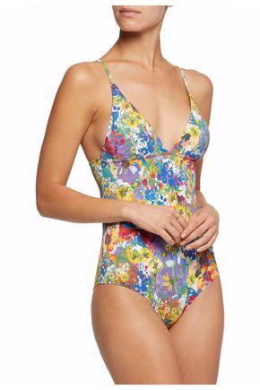 STELLA McCARTNEY Beaded mesh-trimmed printed swimsuit