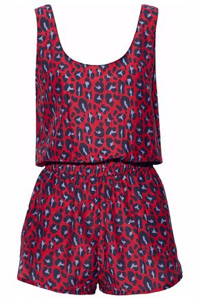STELLA McCARTNEY Leopard-print cotton and silk-blend playsuit