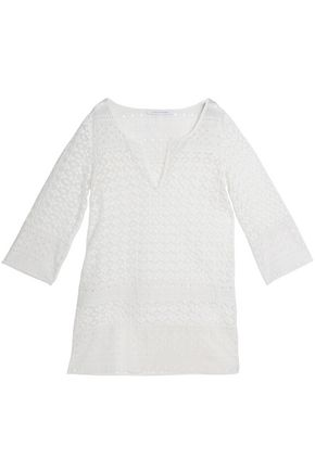 DIANE VON FURSTENBERG Broderie anglaise-trimmed macramé lace cotton coverup