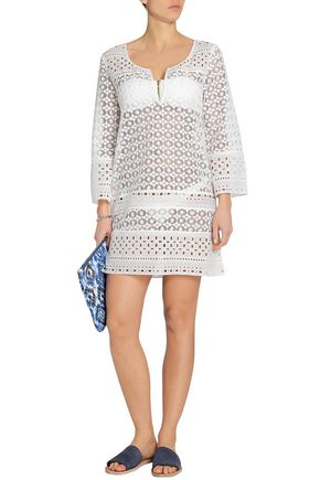 Diane Von Furstenberg Woman Broderie Anglaise-trimmed Macramé Lace Cotton Coverup White Size S Diane Von Fürstenberg Free Shipping Clearance Sast Sale Low Cost Clearance For Cheap Clearance Countdown Package UDMmbfOWk2