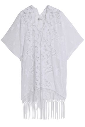 MIGUELINA Fringed macramé-paneled cotton guipure lace coverup