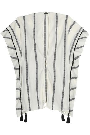 VIX PAULA HERMANNY Tasseled striped cotton-gauze coverup