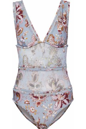 ZIMMERMANN Pavillion mesh-paneled printed swimsuit