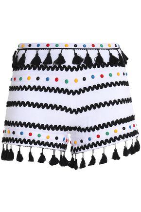 DODO BAR OR Embellished cotton-gauze shorts
