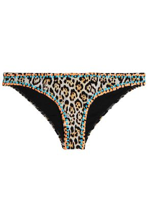 JUST CAVALLI BEACHWEAR Leopard-print low-rise bikini briefs