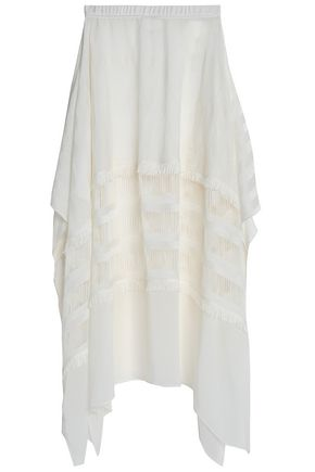 MISSONI Fringe-trimmed crochet-knit and voile skirt