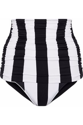 NORMA KAMALI Ruched striped high-rise bikini briefs