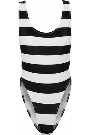 NORMA KAMALI Open-back striped swimsuit