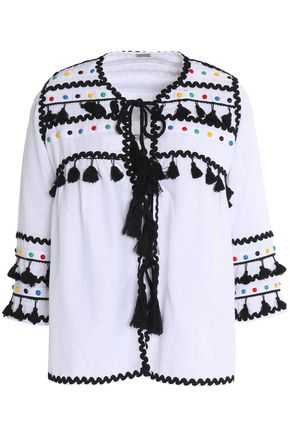DODO BAR OR Embellished cotton-gauze top