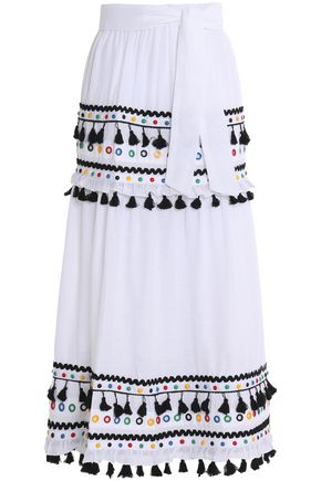 DODO BAR OR Embellished cotton-gauze maxi skirt
