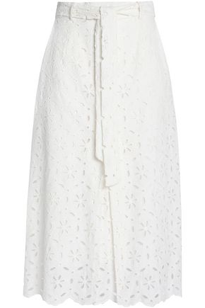 ZIMMERMANN Scalloped broderie anglais cotton midi skirt