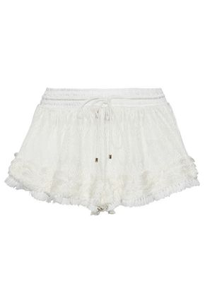 MISSONI Fringed crochet-knit shorts
