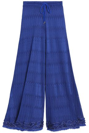 MISSONI Ruffle-trimmed crochet-knit pants