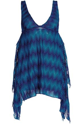 MISSONI MARE Fringe-trimmed metallic crochet-knit coverup