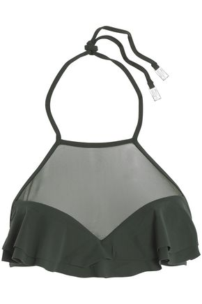 ZIMMERMANN Ruffle-trimmed mesh-paneled bikini top