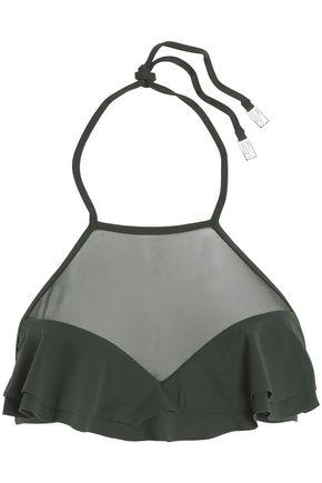 ZIMMERMANN Ruffle-trimmed mesh-paneled bikini top