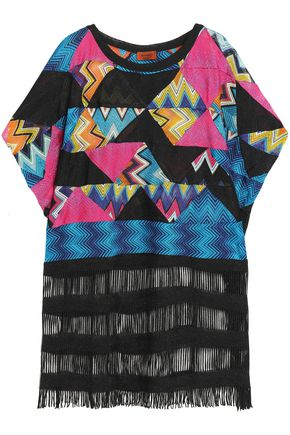 MISSONI Fringe-trimmed metallic crochet-knit kaftan