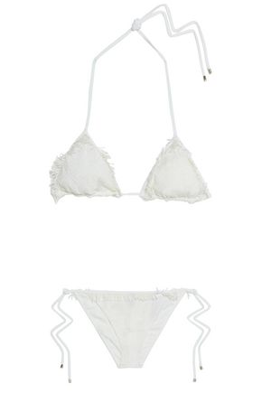 MISSONI Fringe-trimmed crochet-knit triangle bikini
