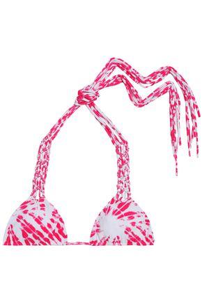 MIKOH Macramé-trimmed tie-dyed triangle bikini top