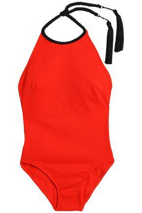 FLAGPOLE x OSCAR DE LA RENTA Tasseled halterneck swimsuit