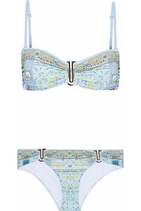 CAMILLA Embellished printed bandeau bikini