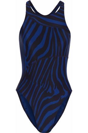 ADIDAS by STELLA McCARTNEY Cutout zebra-print swimsuit