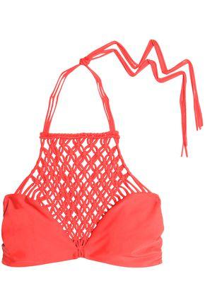 MIKOH Macramé-paneled halterneck bikini top
