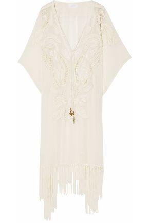 CAMILLA Cutout embellished fringe-trimmed silk kaftan