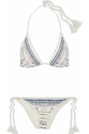 CAMILLA Tasseled crochet-trimmed printed triangle bikini