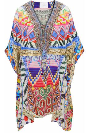 CAMILLA Printed embellished lace-up silk kaftan