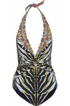 CAMILLA Crystal-embellished zebra-print halterneck swimsuit