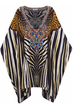 CAMILLA Crystal-embellished printed silk coverup