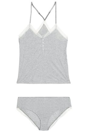 CALVIN KLEIN Lace-trimmed mélange stretch-modal jersey camisole and briefs set