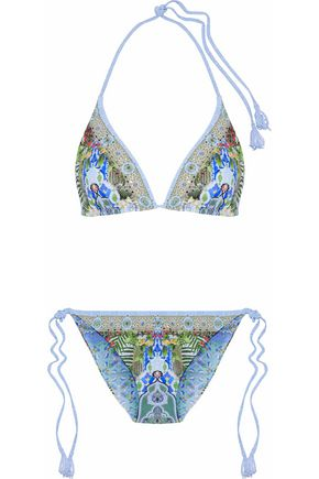 CAMILLA Open-back embellished printed swimsuit