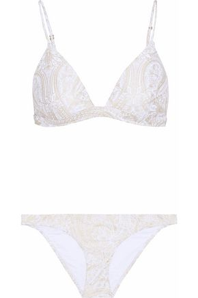ZIMMERMANN Metallic printed triangle bikini