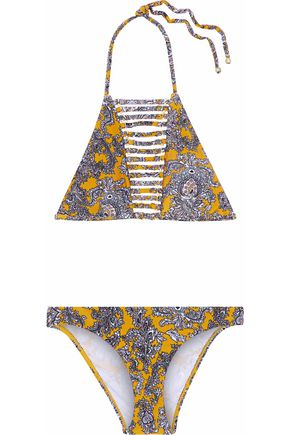 ZIMMERMANN Embellished cutout printed bikini