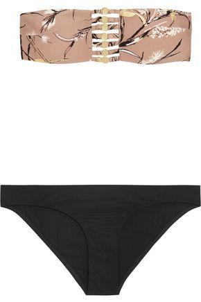 ZIMMERMANN Gossamer Bamboo button-embellished printed bandeau bikini top