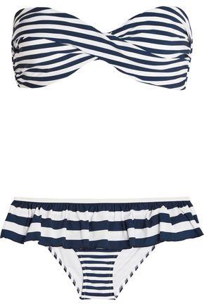 DOLCE & GABBANA Ruffled striped bandeau bikini