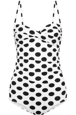 DOLCE & GABBANA BEACHWEAR Ruched polka-dot swimsuit