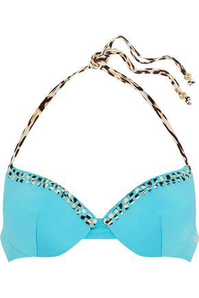 JUST CAVALLI Embellished halterneck bikini top