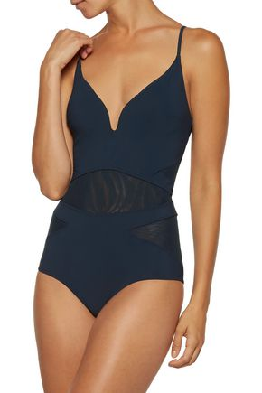 ZIMMERMANN Separates Plunge open-back mesh-paneled swimsuit