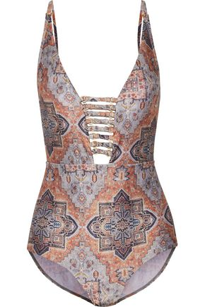ZIMMERMANN Harlequin embellished cutout printed swimsuit