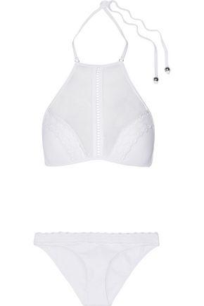 ZIMMERMANN Zephyr point d'esprit-paneled crochet-trimmed halterneck bikini