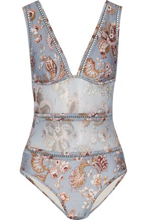 ZIMMERMANN Open knit-trimmed floral-print swimsuit