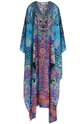 CAMILLA Crystal-embellished printed silk kaftan