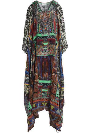CAMILLA Fringe-trimmed crystal-embellished printed silk kaftan
